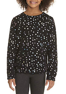 ZELOS Girls 7-16 Foil Dot Sweatshirt