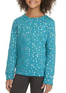 ZELOS Girls 7-16 Foil Dot Sweatshirt