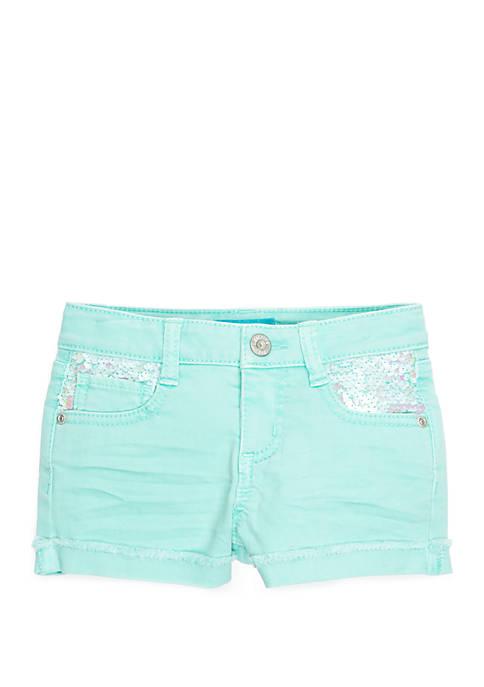 Lightning Bug Girls 4-8 Iridescent Sequin Pocket Shorts