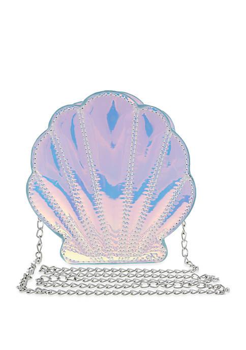 Lightning Bug Girls Silver Shell Bag with Chain