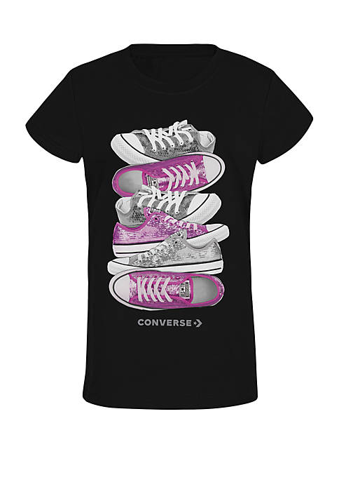 Girls 7-16 Sequin Stacked Short Sleeve T Shirt