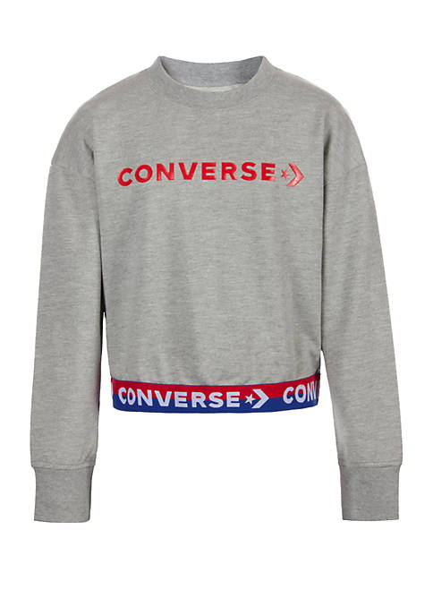 Converse Girls 7-16 Wordmark Cropped Pullover Crew T
