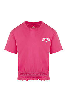 Converse Girls 7-16 Smocked Knit Top