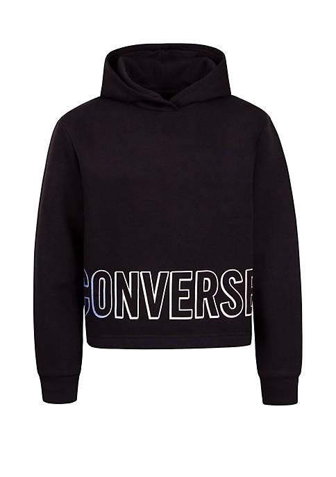 Converse Girls 7-16 Gradient Wordmark Fleece Crop Hoodie