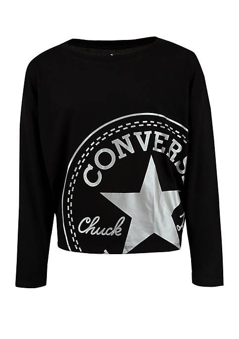 Converse Girls 7-16 Oversized Chuck Patch Dolman Sleeve
