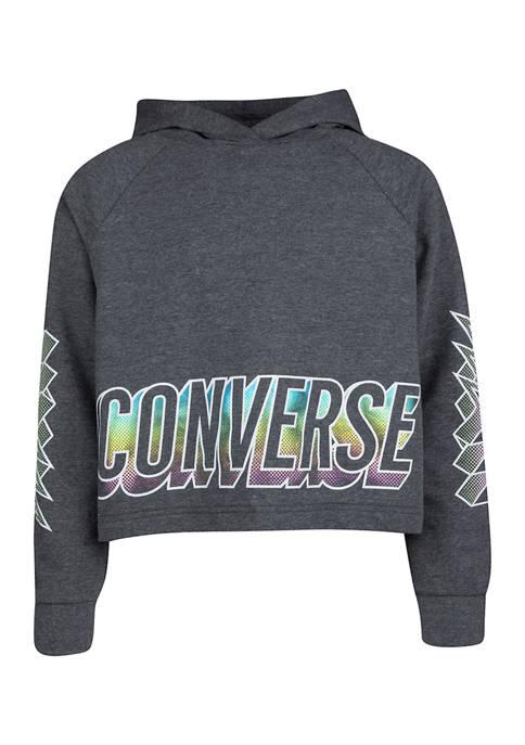 Converse Girls 7-16 Glossy Raglan Sleeve Hoodie