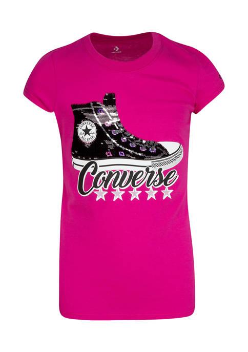 Converse Girls 7-16 Short Sleeve Flip Sequins Sneaker