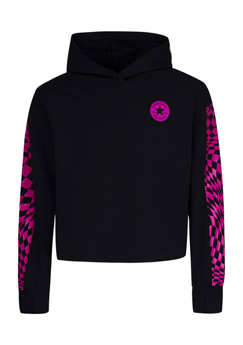 Girls 7-16 Check Cropped Hoodie