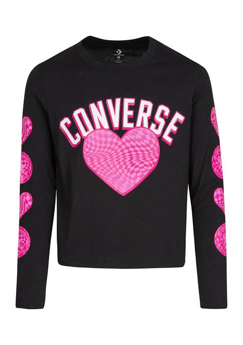 Girls 7-16 Long Sleeve Check Heart Graphic T-Shirt