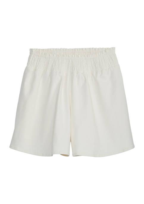 Girls 7-16 Solid Smocked Shorts
