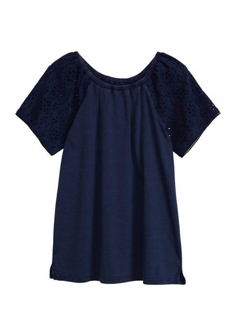 Girls 7-16 Schiffley Sleeve Top