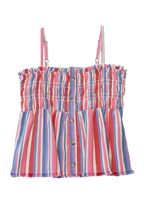 Girls 7-16 Sleeveless Yarn Dyed Striped Smocked Tank