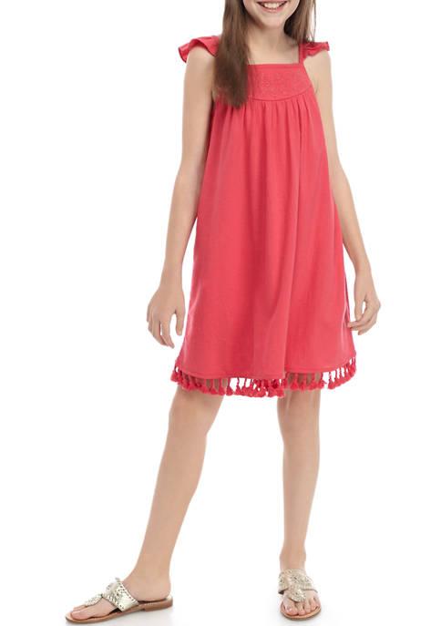 TRUE CRAFT Girls 7-16 Embroidered Yoke Dress