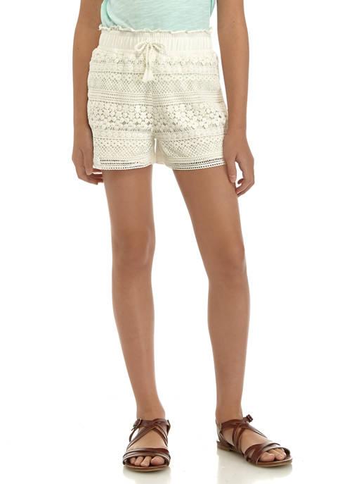 Girls 7-16 Crochet Shorts