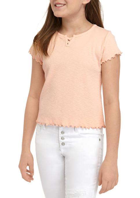 Girls 7-16 Lettuce Trim Rib T-Shirt