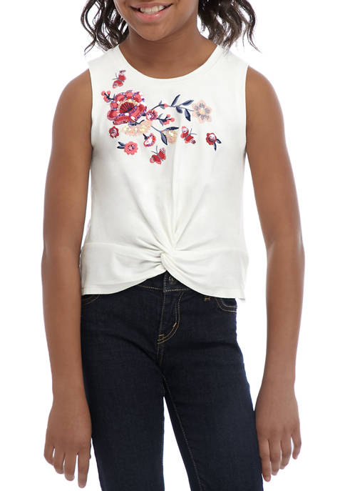 Girls 7-16 Knot Front Tank