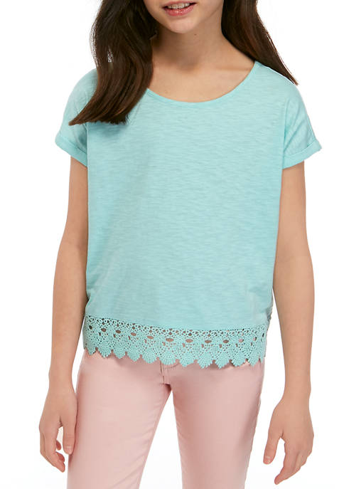 Girls 7-16 Short Sleeve Crochet Hem Top