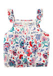 Girls 7-16 Button Front Crochet Top