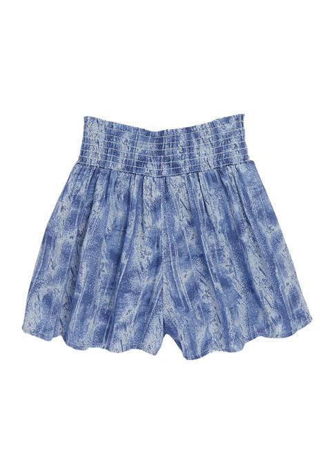 Girls 4-6x Printed Smocked Shorts
