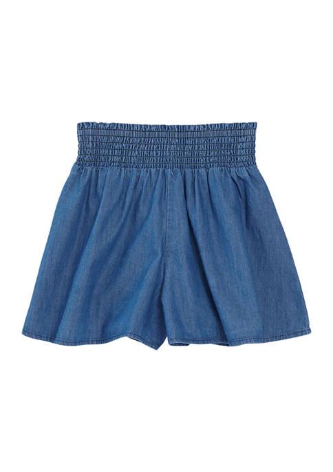 Girls 4-6x Smocked Denim Shorts