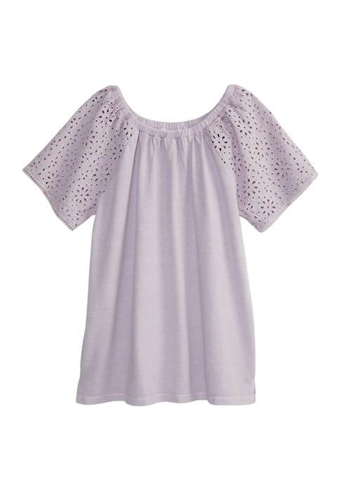 Girls 4-6x Schiffley Sleeve Top