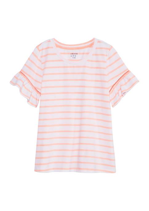 Crown & Ivy™ Girls 7-16 Short Sleeve Crochet