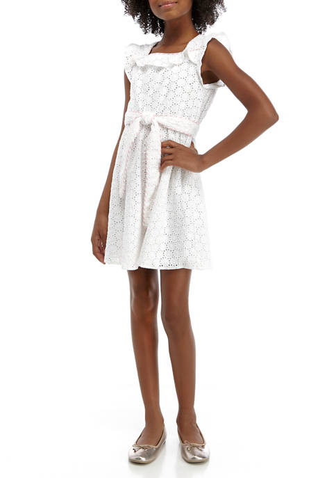 Crown & Ivy™ Girls 7-16 Embroidered Bow Dress