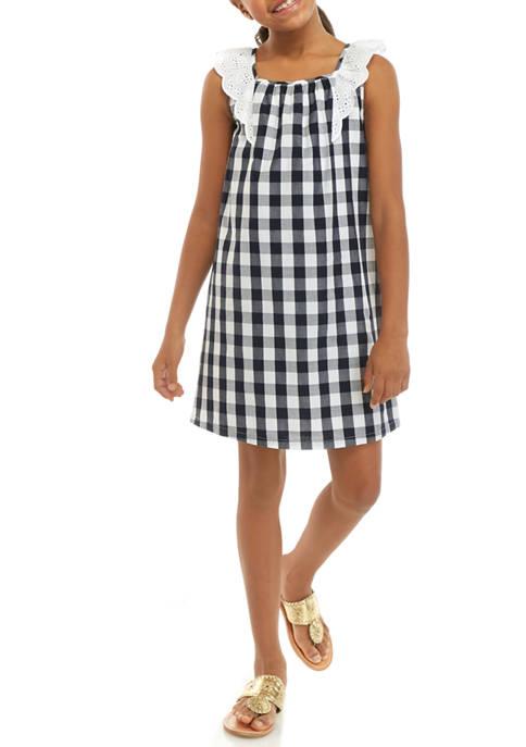 Crown & Ivy™ Girls 7-16 Sleeveless Schiffli Dress