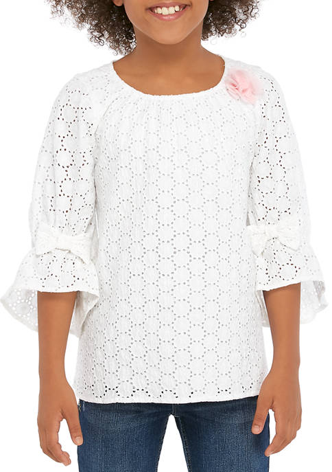 Crown & Ivy™ Girls 7-16 3/4 Sleeve Bow