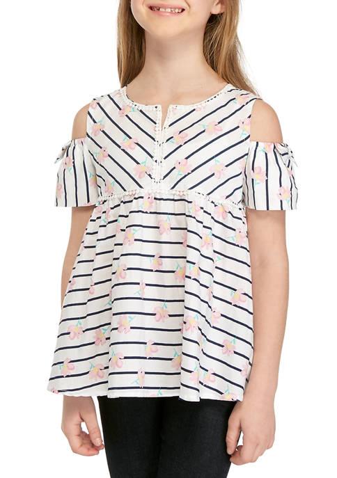 Girls 7-16 Short Sleeve Pom Trim Top