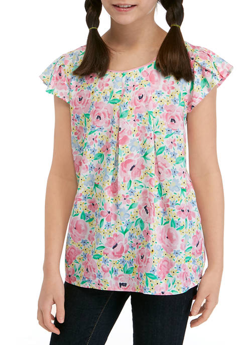 Crown & Ivy™ Girls 7-16 Short Sleeve Printed