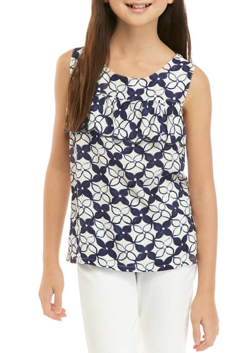 Crown & Ivy™ Girls 7-16 Flounce Front Top
