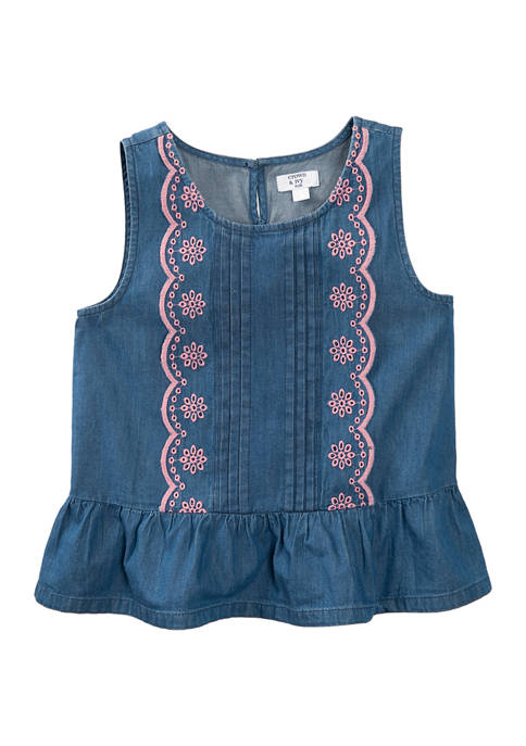 Crown & Ivy™ Girls 7-16 Scallop Front Top