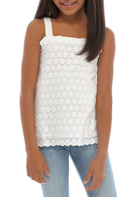 Crown & Ivy™ Girls 7-16 Eyelet Tank