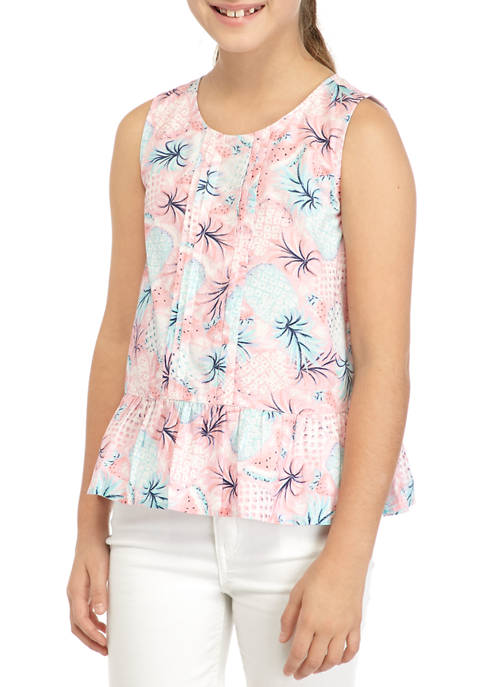 Crown & Ivy™ Girls 7-16 Pleat Front Top