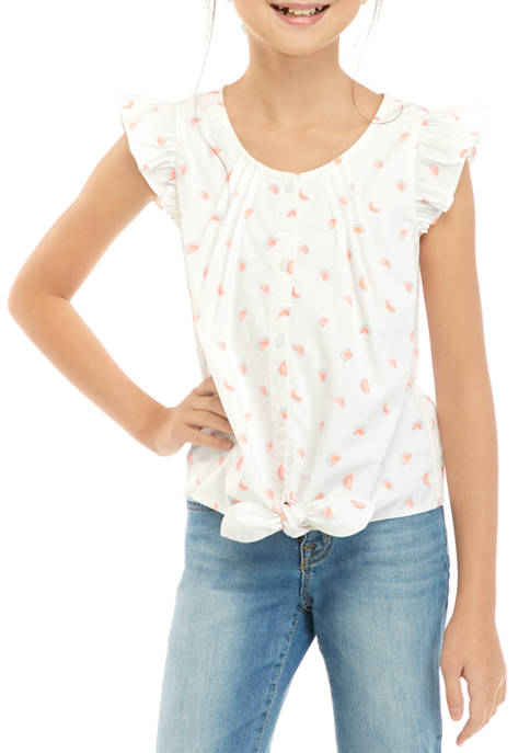 Girls 7-16 Tie Front Button Down Shirt