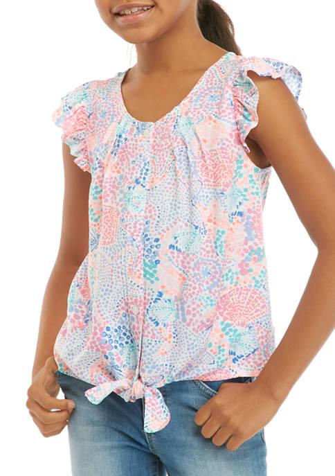 Crown & Ivy™ Girls 7-16 Tie Front Button