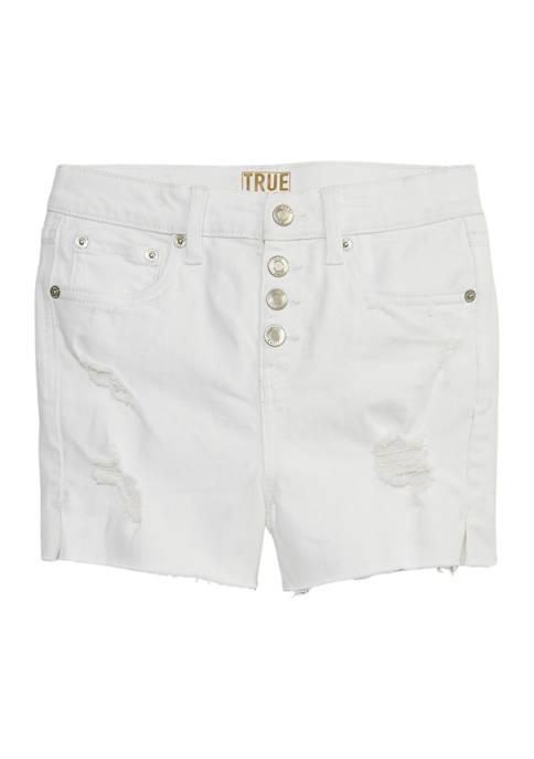 Girls 7-16 High Rise Button Shorts