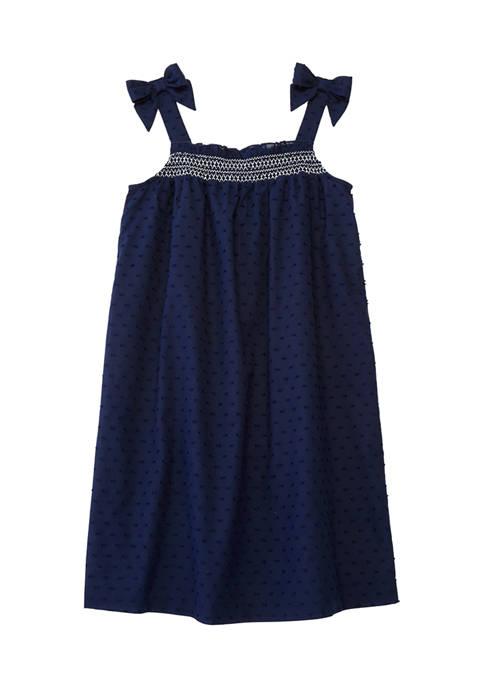 Girls 7-16 Sleeveless Smocked Clip Dot Dress