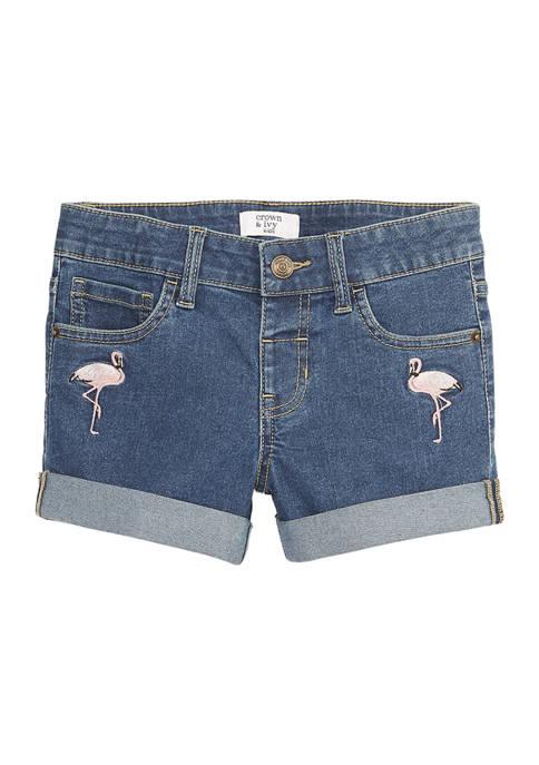 Girls 7-16 Flamingo Denim Shorts
