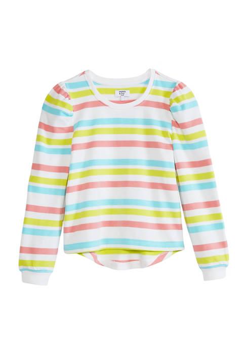Crown & Ivy™ Girls 7-16 Shirred Graphic Sweatshirt