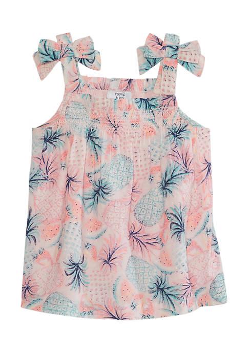 Crown & Ivy™ Girls 7-16 Smocked Printed Tank