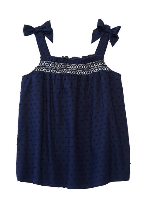 Crown & Ivy™ Girls 7-16 Smocked Clip Dot