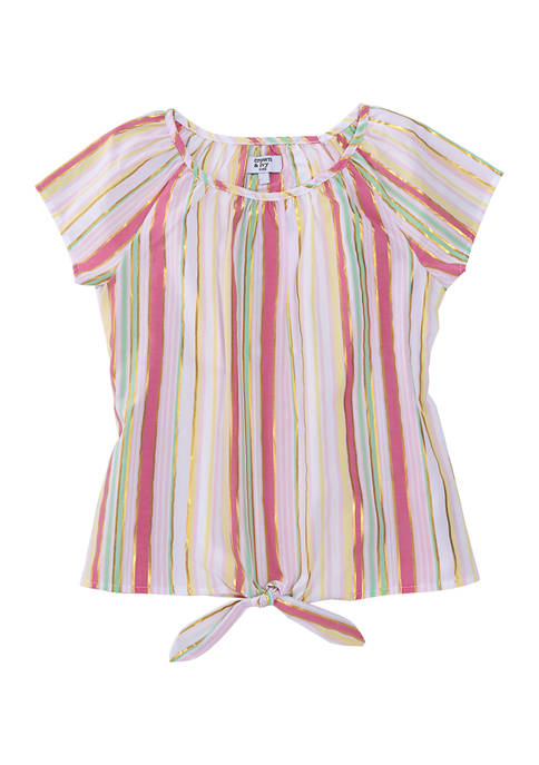 Girls 7-16 Striped Tie Front Top