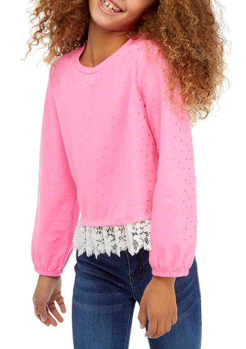 Crown & Ivy™ Girls 7-16 Lace Hem Shirt