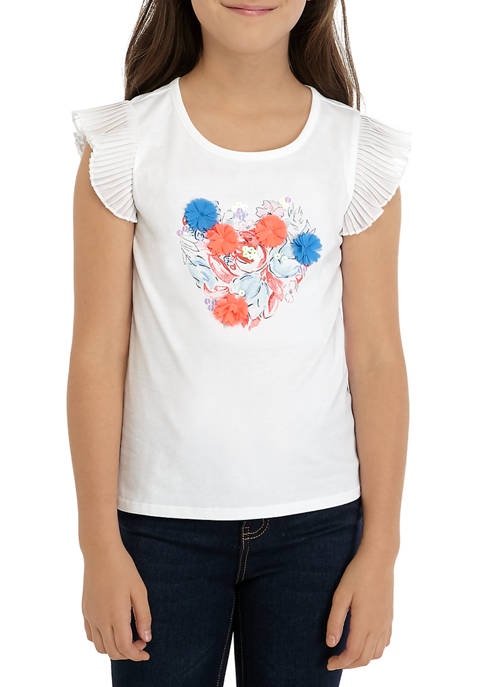 Crown & Ivy™ Girls 7-16 Chiffon Sleeve Graphic