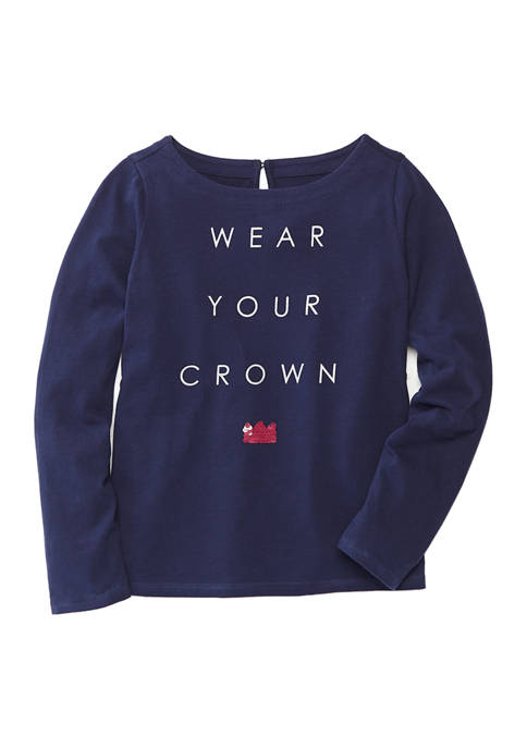 Crown & Ivy™ Girls 4-6x Long Sleeve Graphic