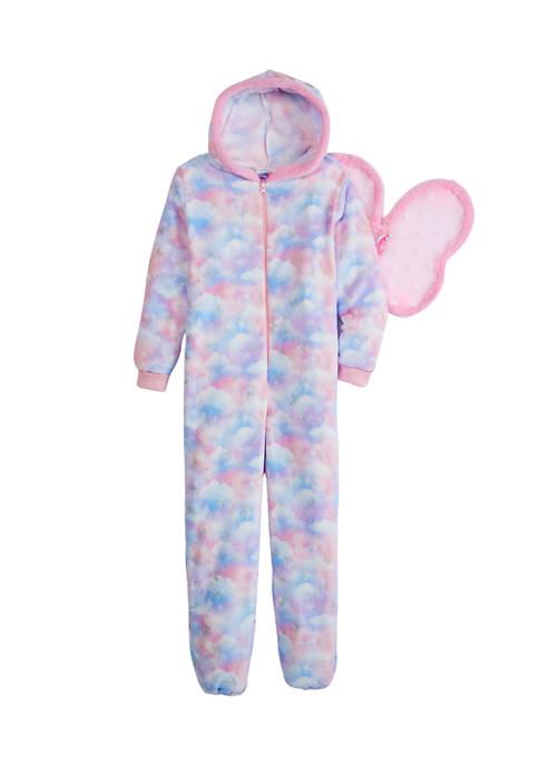 Girls 7-16 Cloud Tie Dye Printed Butterfly Hooded One Piece Pajama