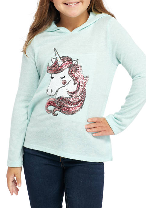 btween Girls 7-16 Hacci Hooded T-Shirt With Sequin