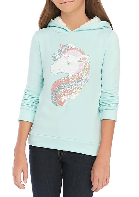 btween Girls 7-16 Brushed Fleece Sherpa Sequin Hoodie
